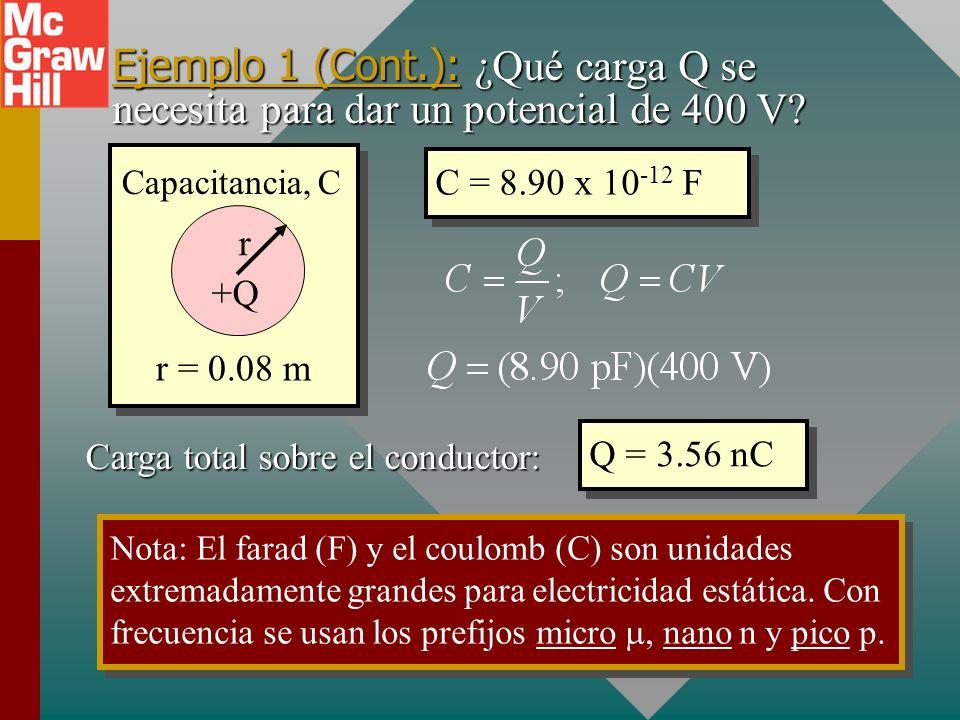 Ejemplo 1 (Cont.): ¿Qué carga Q se necesita para dar un potencial de 400 V