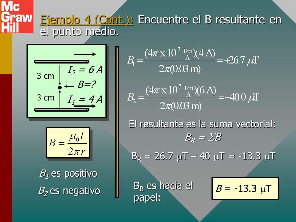 Ejemplo 4 (Cont.): Encuentre el B resultante en el punto medio.