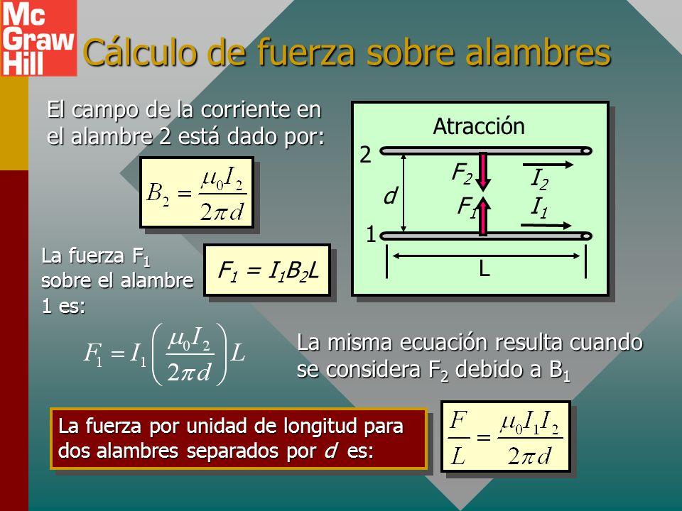 Cálculo de fuerza sobre alambres