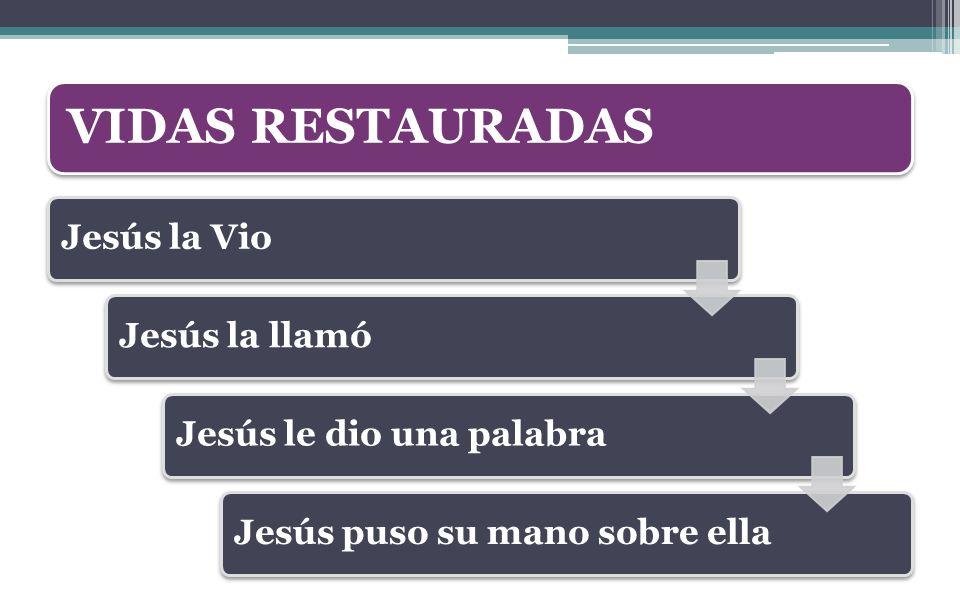 VIDAS RESTAURADAS Jesús la Vio Jesús la llamó Jesús le dio una palabra
