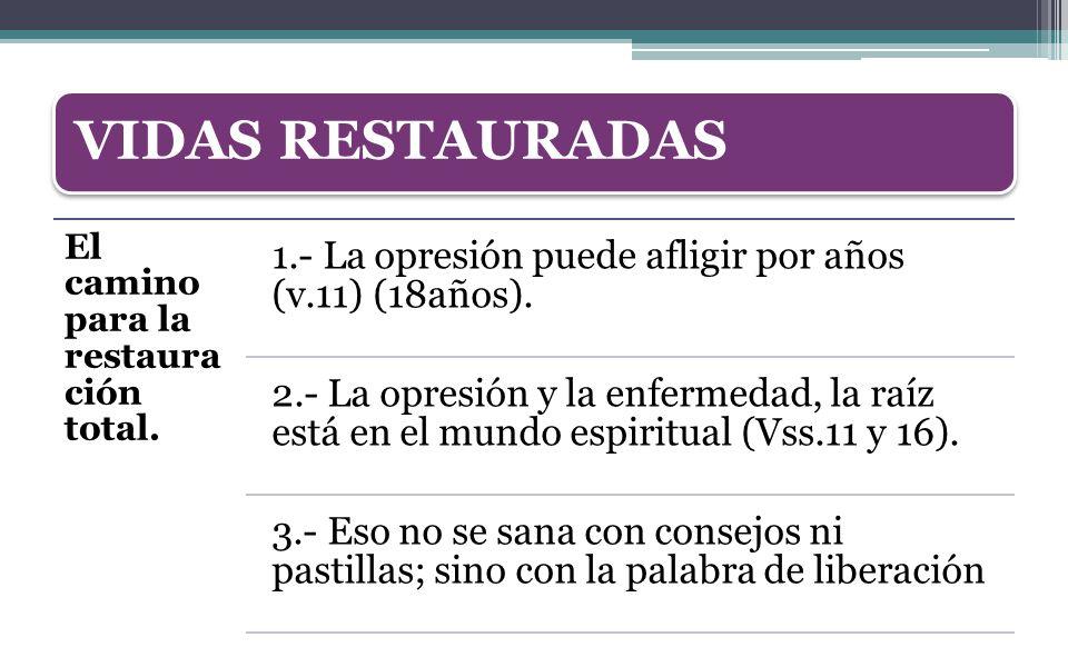 VIDAS RESTAURADAS El camino para la restauración total. 1.- La opresión puede afligir por años (v.11) (18años).