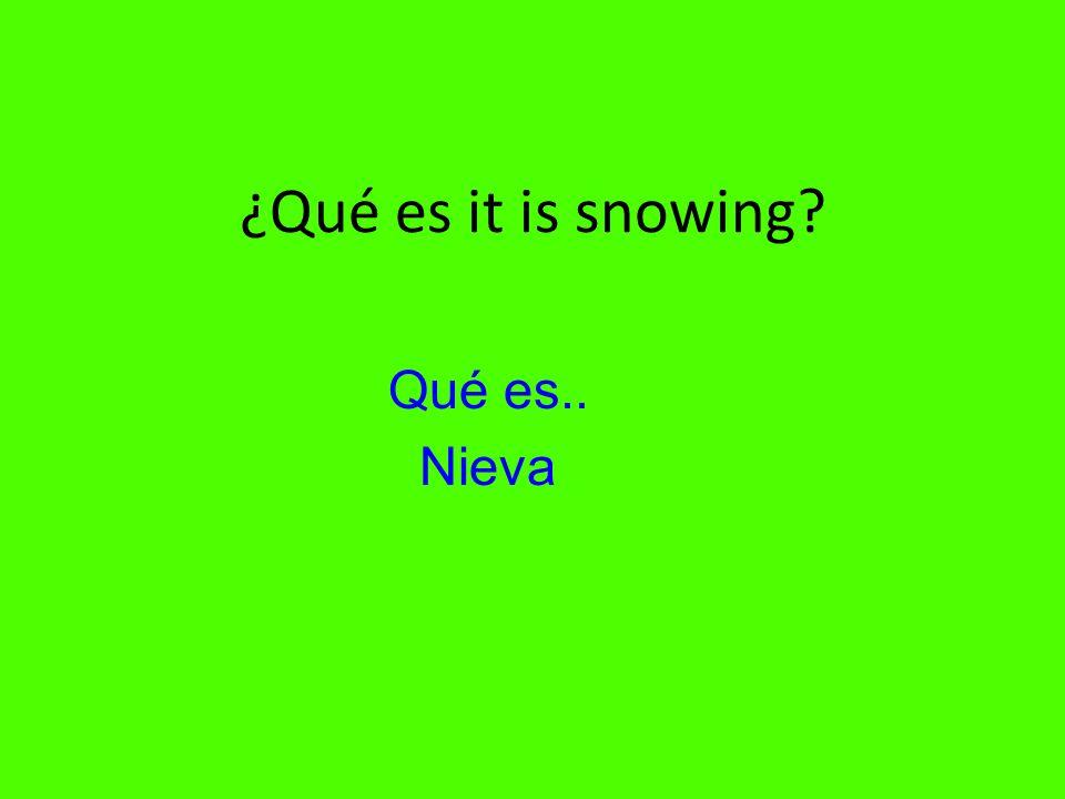 ¿Qué es it is snowing Qué es.. Nieva