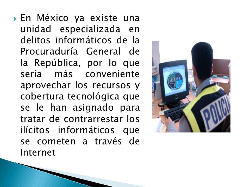 En México ya existe una unidad especializada en delitos informáticos de la Procuraduría General de la República, por lo que sería más conveniente aprovechar los recursos y cobertura tecnológica que se le han asignado para tratar de contrarrestar los ilícitos informáticos que se cometen a través de Internet