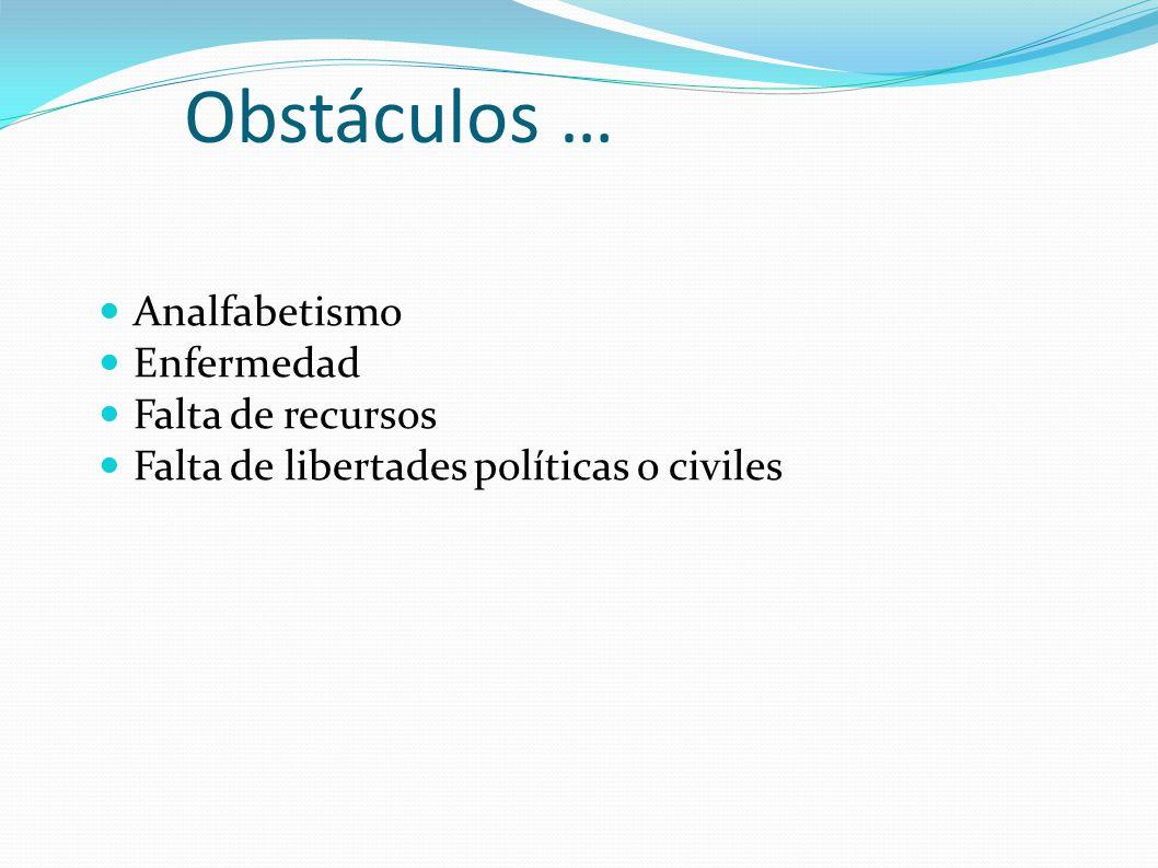 Obstáculos … Analfabetismo Enfermedad Falta de recursos