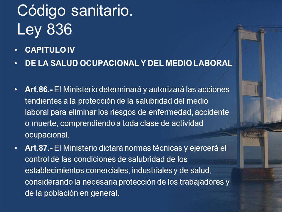 Código sanitario. Ley 836 CAPITULO IV