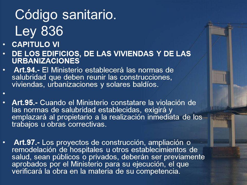 Código sanitario. Ley 836 CAPITULO VI