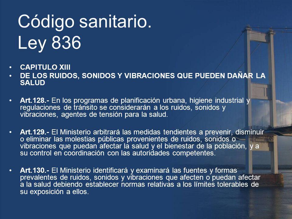 Código sanitario. Ley 836 CAPITULO XIII