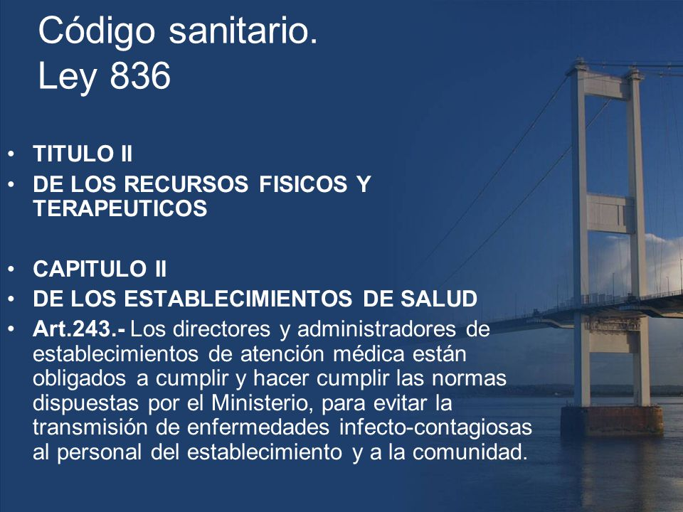 Código sanitario. Ley 836 TITULO II