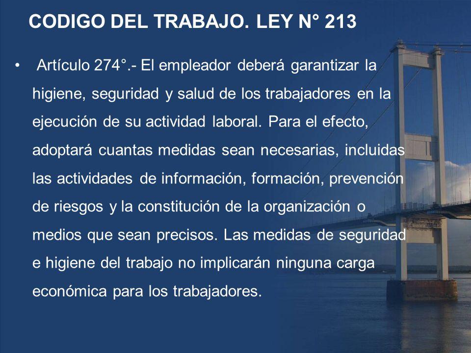 CODIGO DEL TRABAJO. LEY N° 213