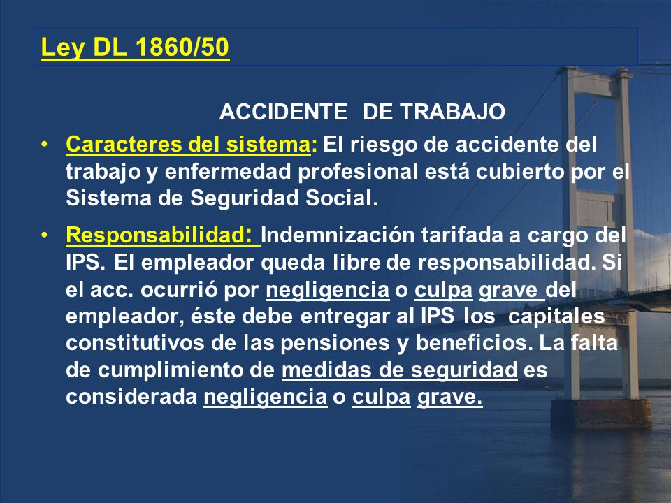 Ley DL 1860/50 ACCIDENTE DE TRABAJO