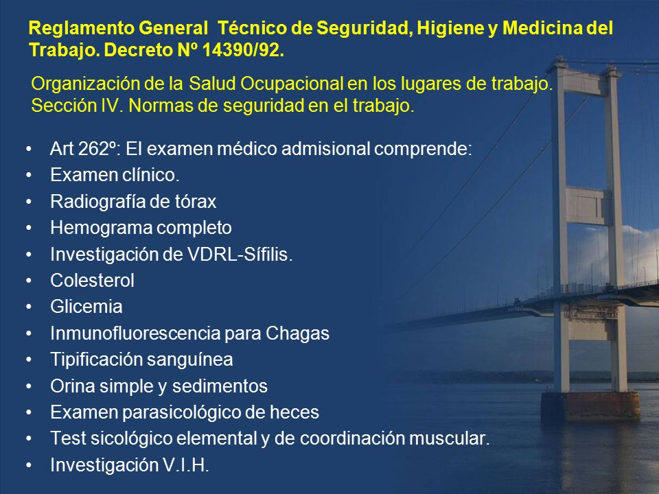 Reglamento General Técnico de Seguridad, Higiene y Medicina del Trabajo. Decreto Nº 14390/92.
