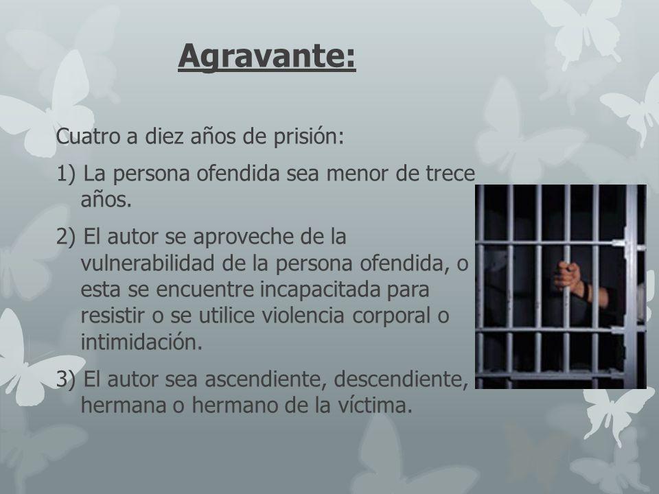 Agravante: Cuatro a diez años de prisión: