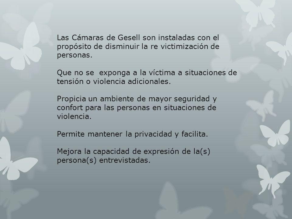 Las Cámaras de Gesell son instaladas con el propósito de disminuir la re victimización de personas.