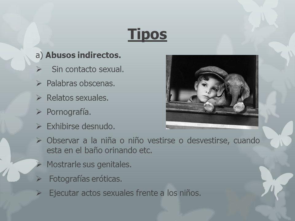 Tipos a) Abusos indirectos. Sin contacto sexual. Palabras obscenas.