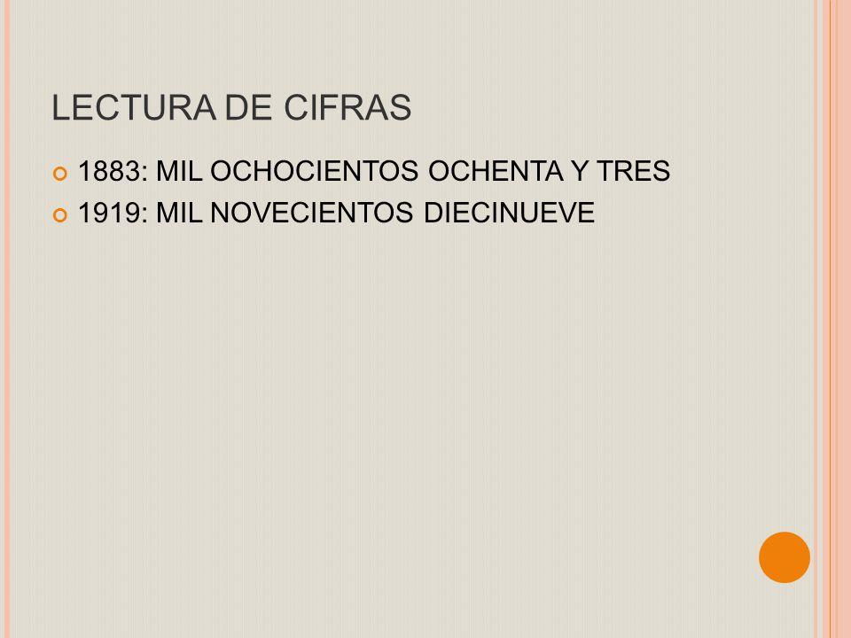 LECTURA DE CIFRAS 1883: MIL OCHOCIENTOS OCHENTA Y TRES