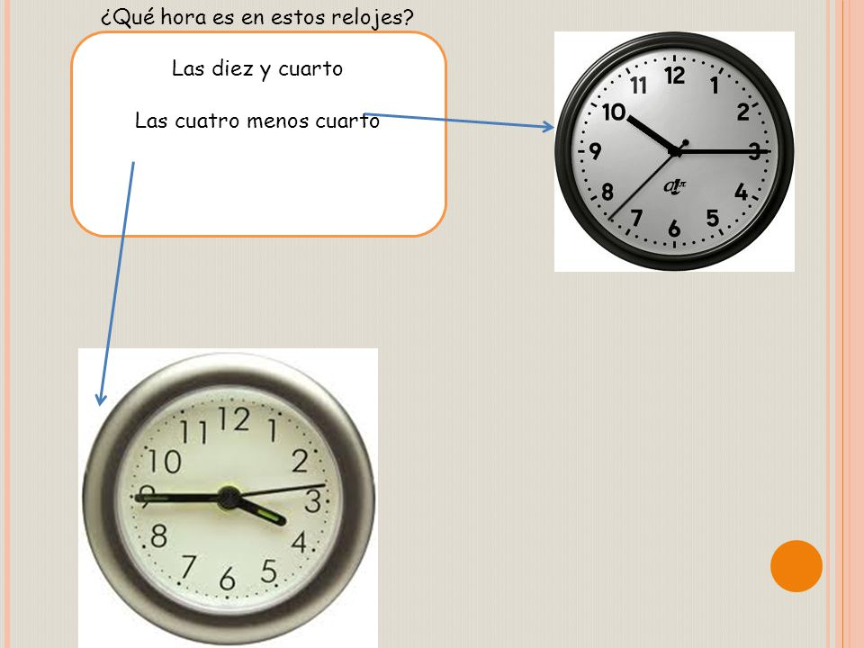 ¿Qué hora es en estos relojes Las diez y cuarto