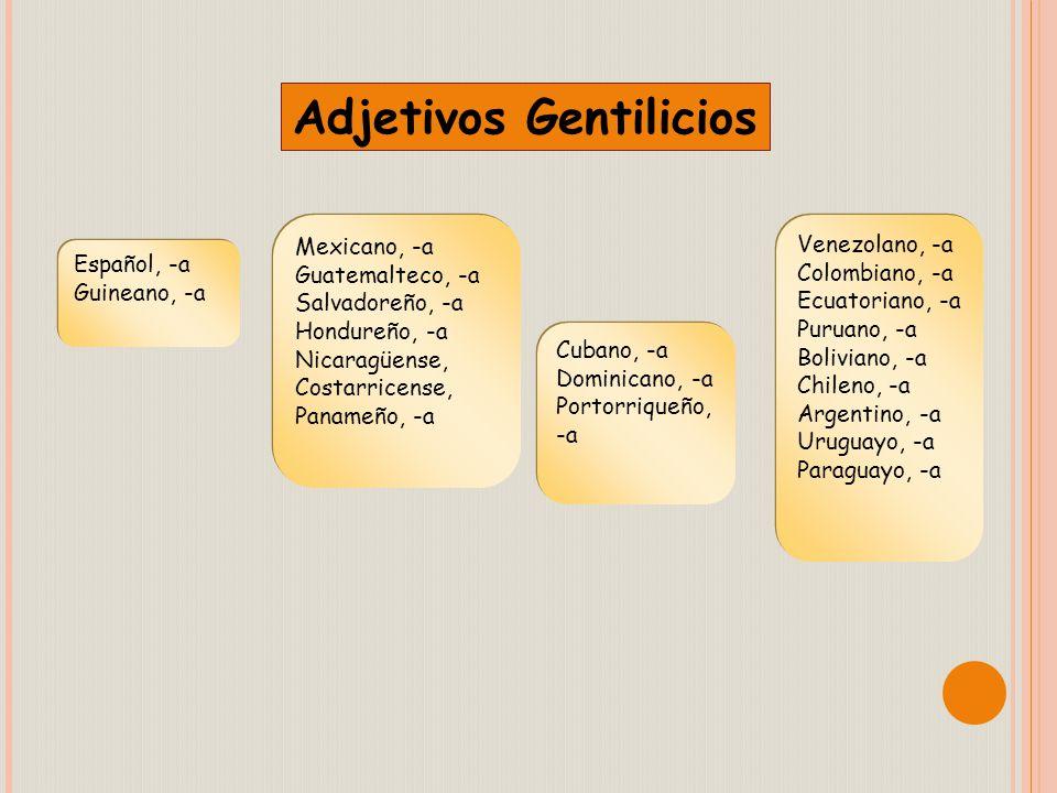 Adjetivos Gentilicios