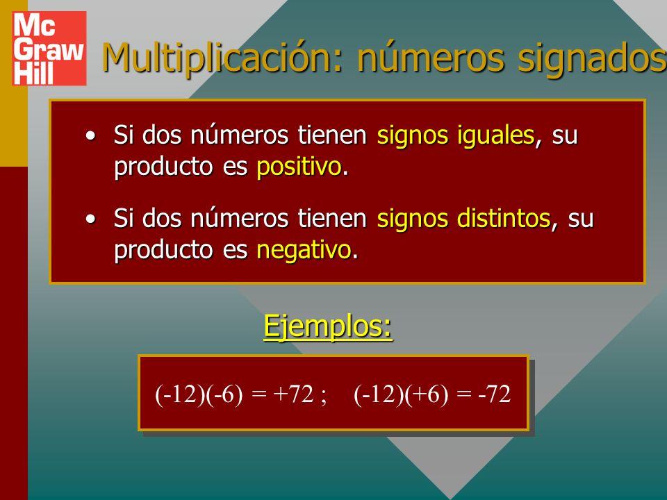 Multiplicación: números signados