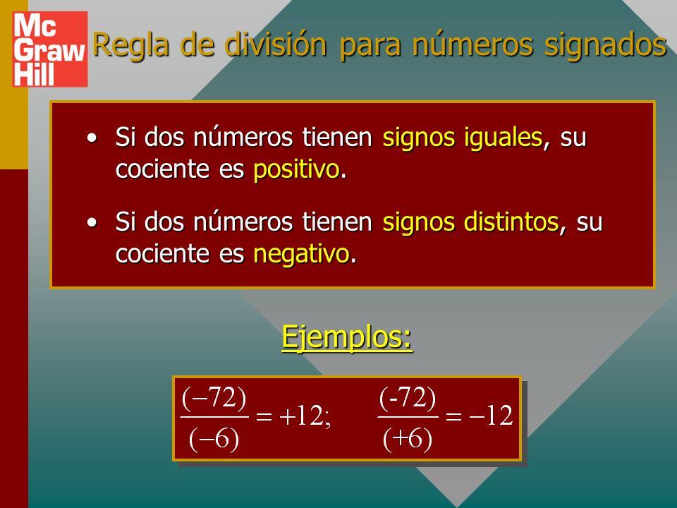 Regla de división para números signados
