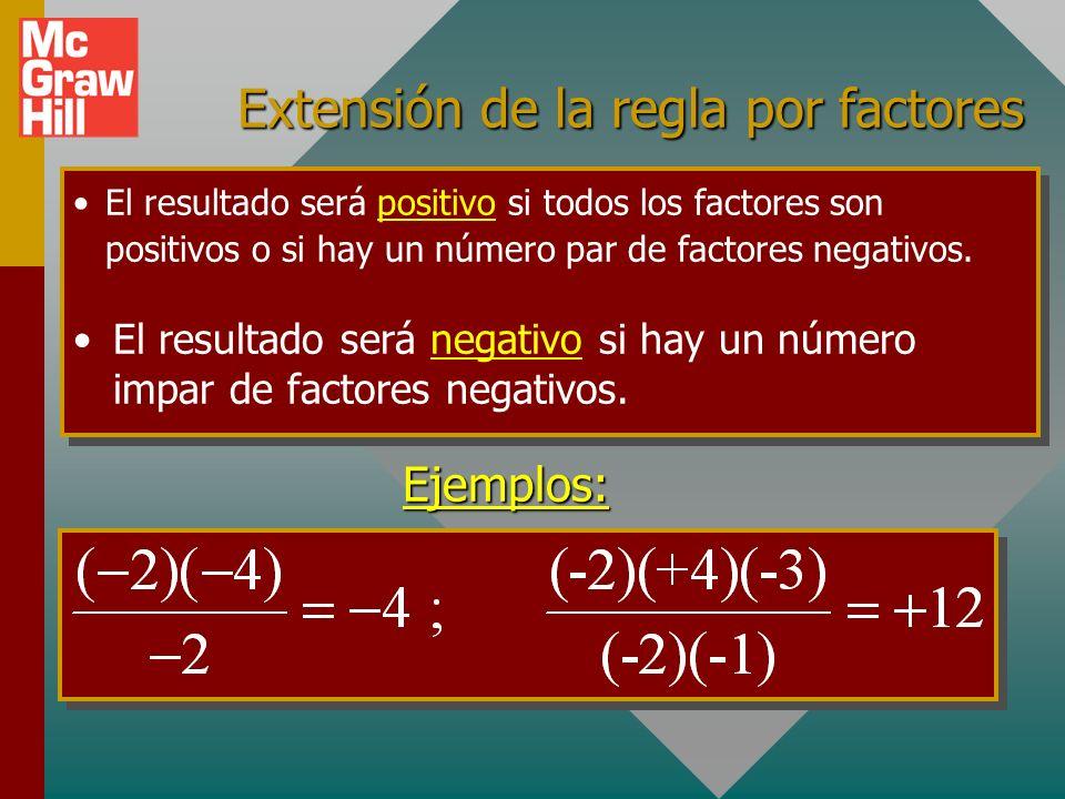 Extensión de la regla por factores