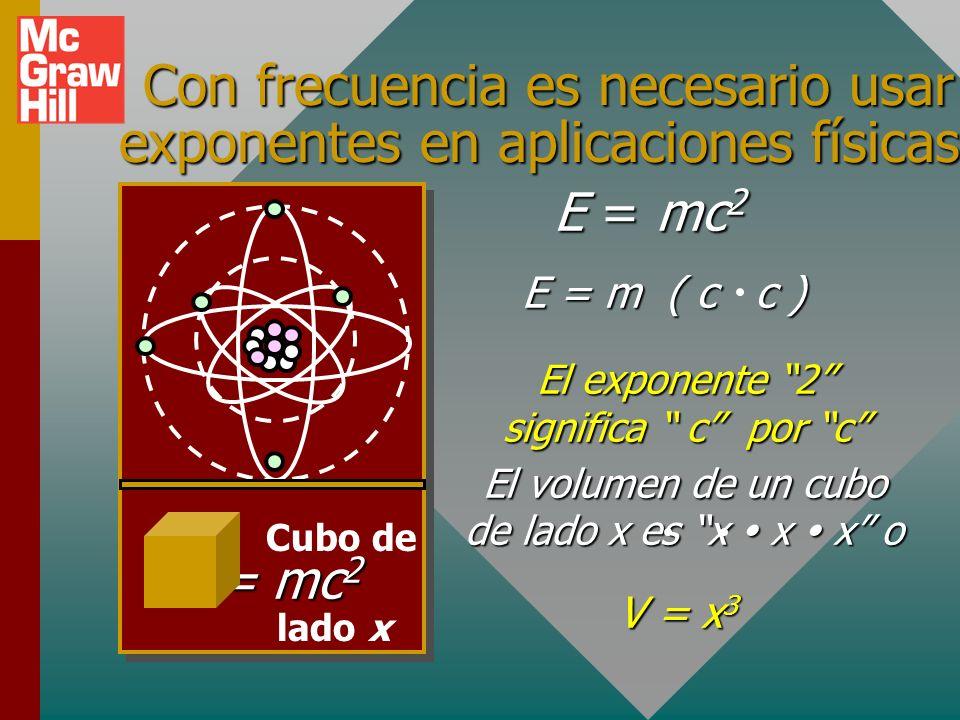 Con frecuencia es necesario usar exponentes en aplicaciones físicas.