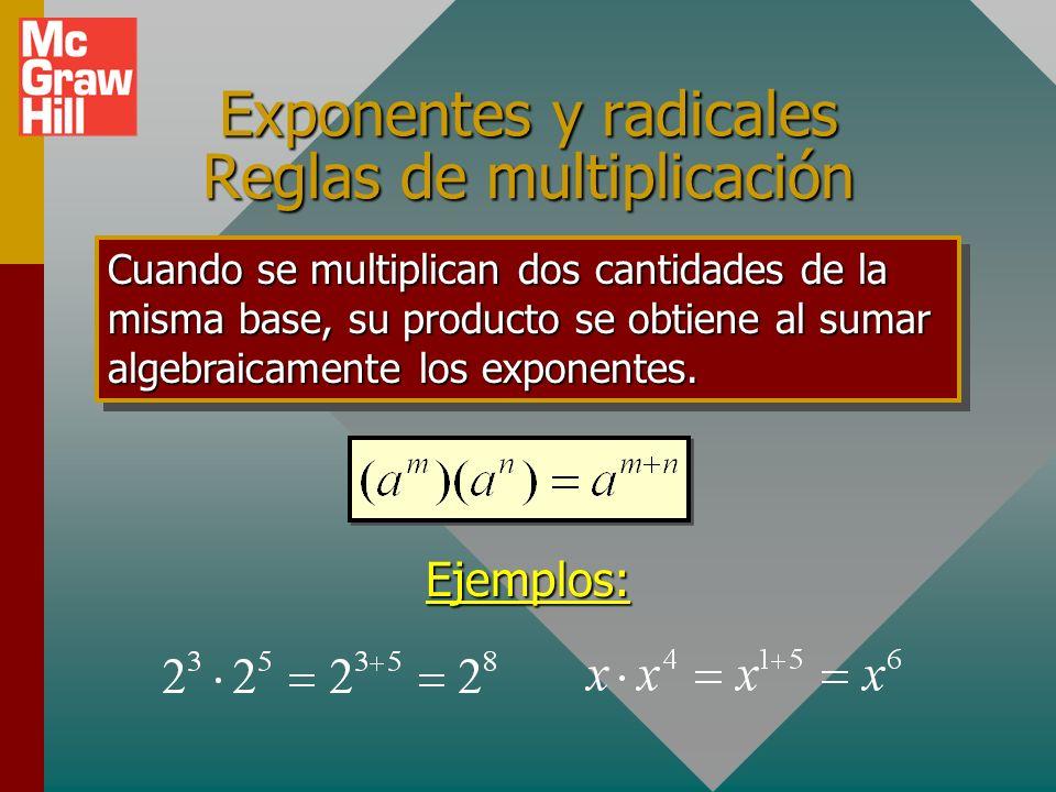 Exponentes y radicales Reglas de multiplicación