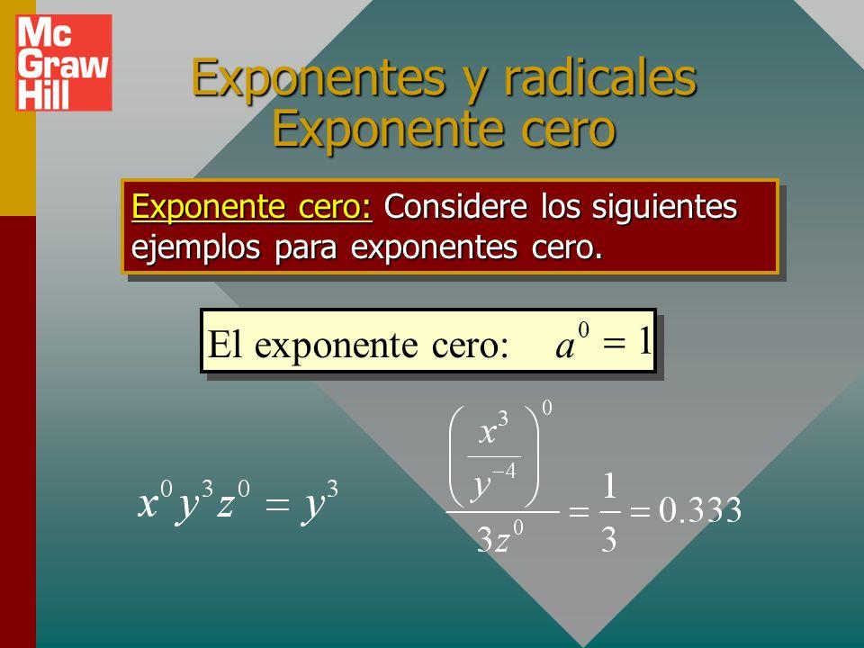 Exponentes y radicales Exponente cero