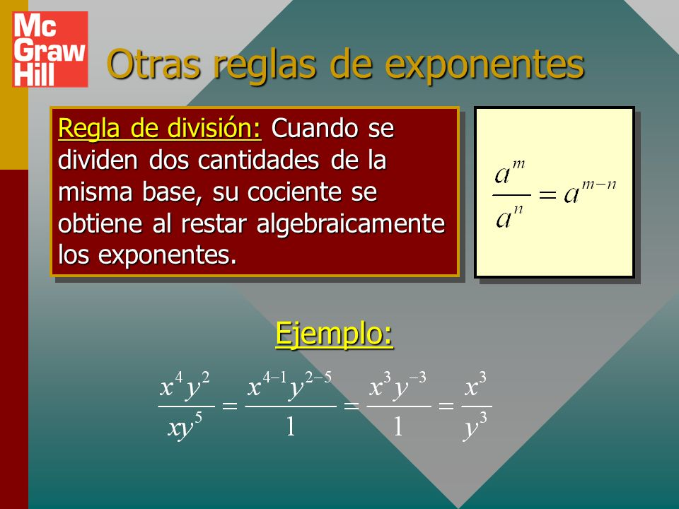 Otras reglas de exponentes