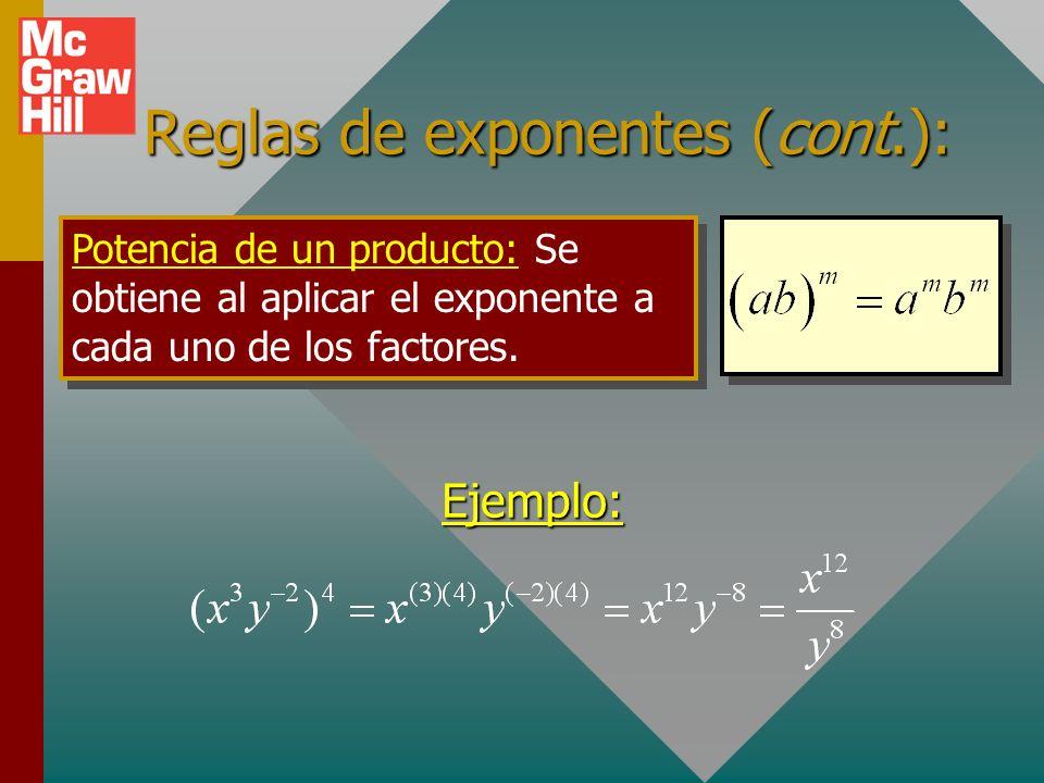 Reglas de exponentes (cont.):