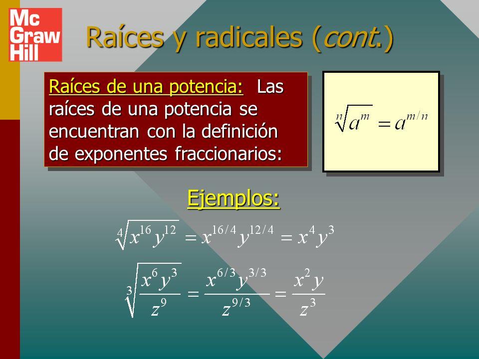Raíces y radicales (cont.)