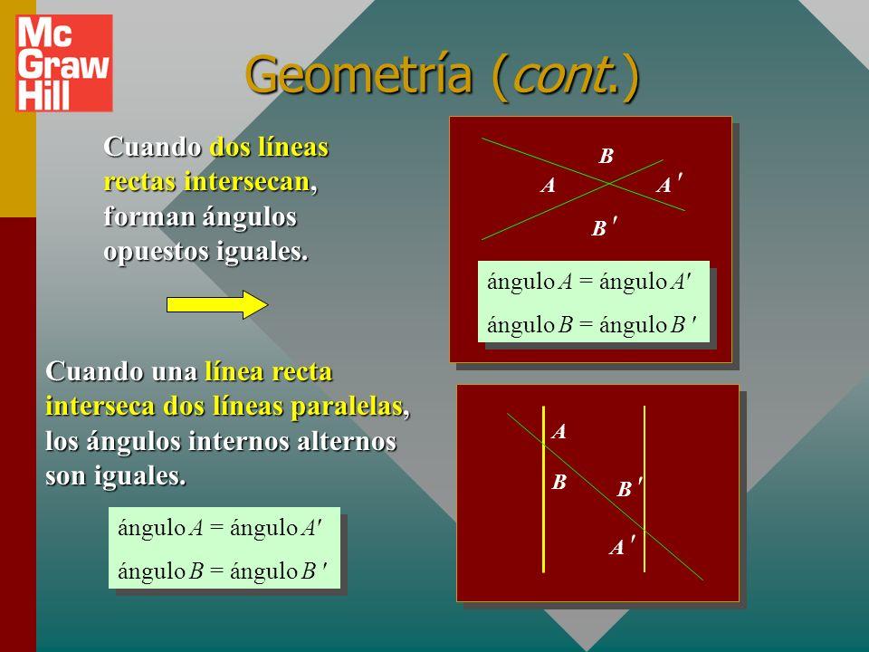 Geometría (cont.) Cuando dos líneas rectas intersecan, forman ángulos opuestos iguales. A. A  B 
