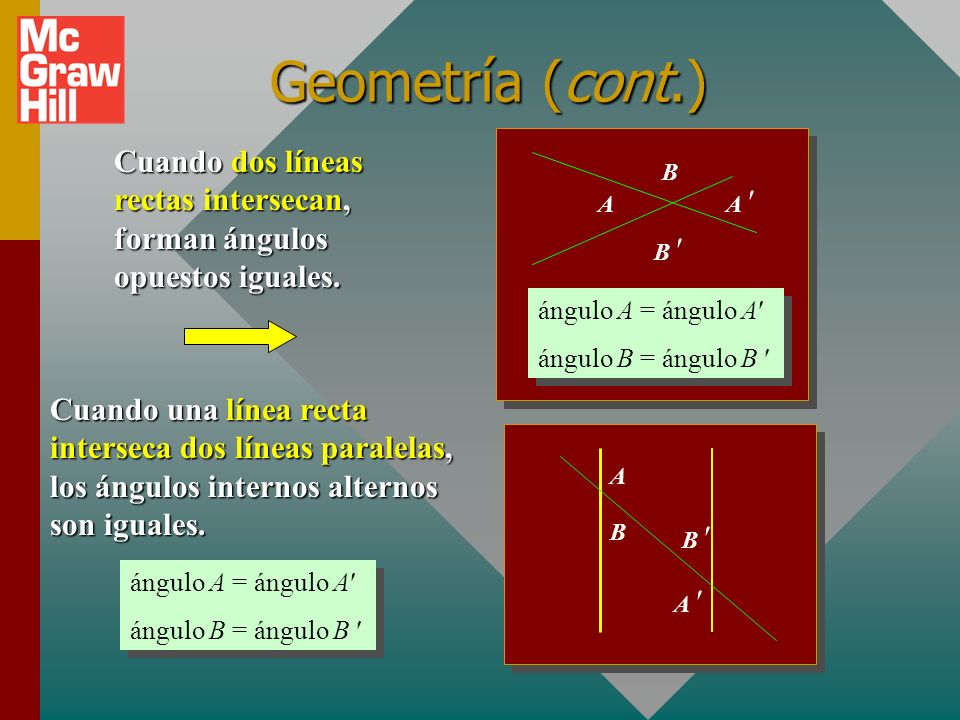 Geometría (cont.)Cuando dos líneas rectas intersecan, forman ángulos opuestos iguales. A. A  B  B.