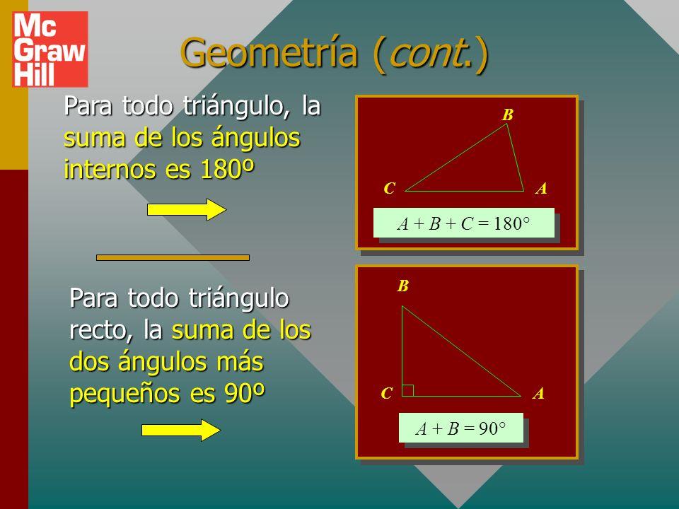 Geometría (cont.) Para todo triángulo, la suma de los ángulos internos es 180º. A + B + C = 180° A.