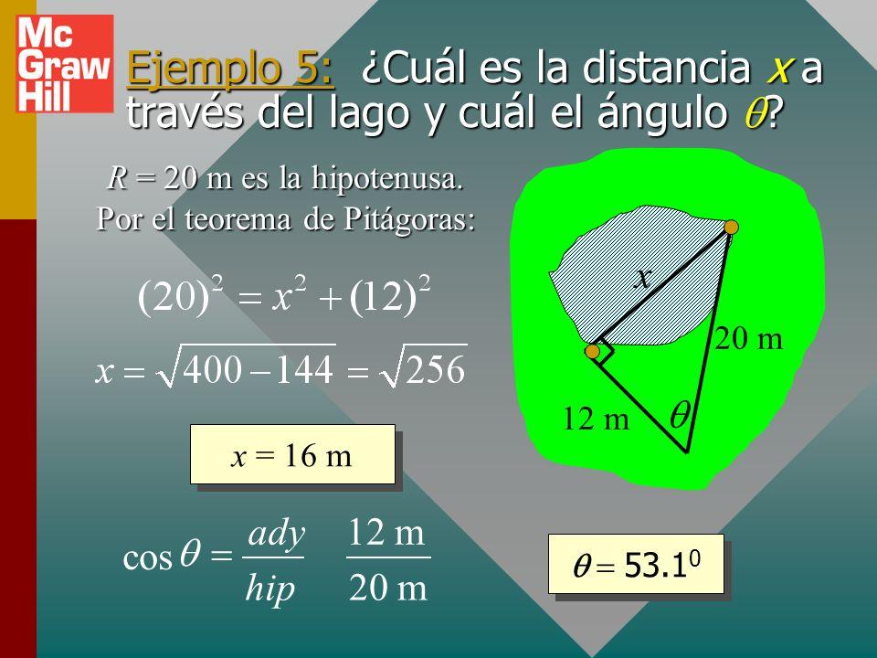 R = 20 m es la hipotenusa. Por el teorema de Pitágoras: