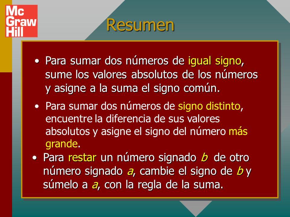 Resumen Para sumar dos números de igual signo, sume los valores absolutos de los números y asigne a la suma el signo común.