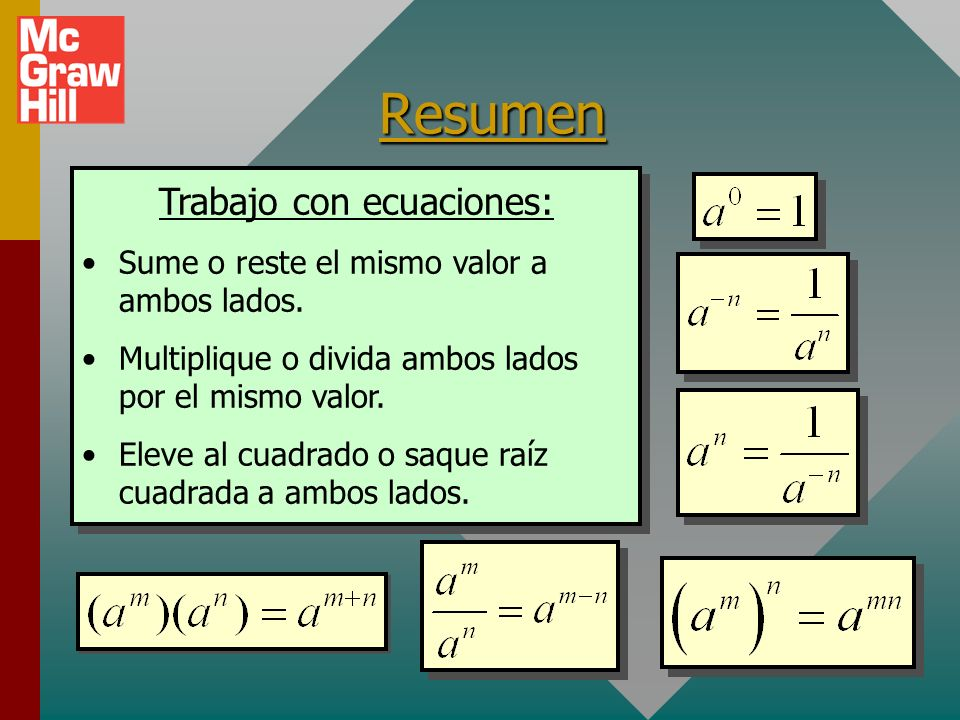 Trabajo con ecuaciones: