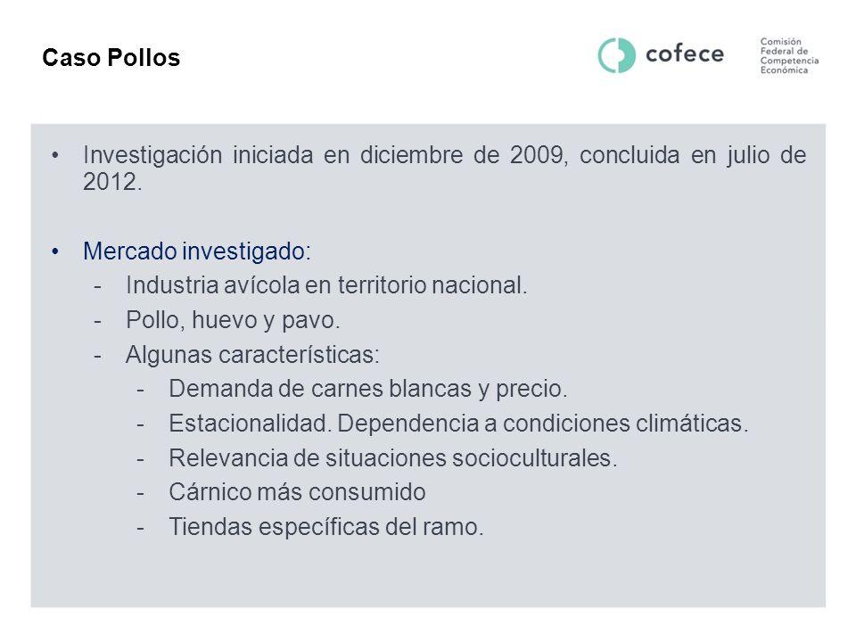 Caso Pollos Investigación iniciada en diciembre de 2009, concluida en julio de 2012. Mercado investigado: