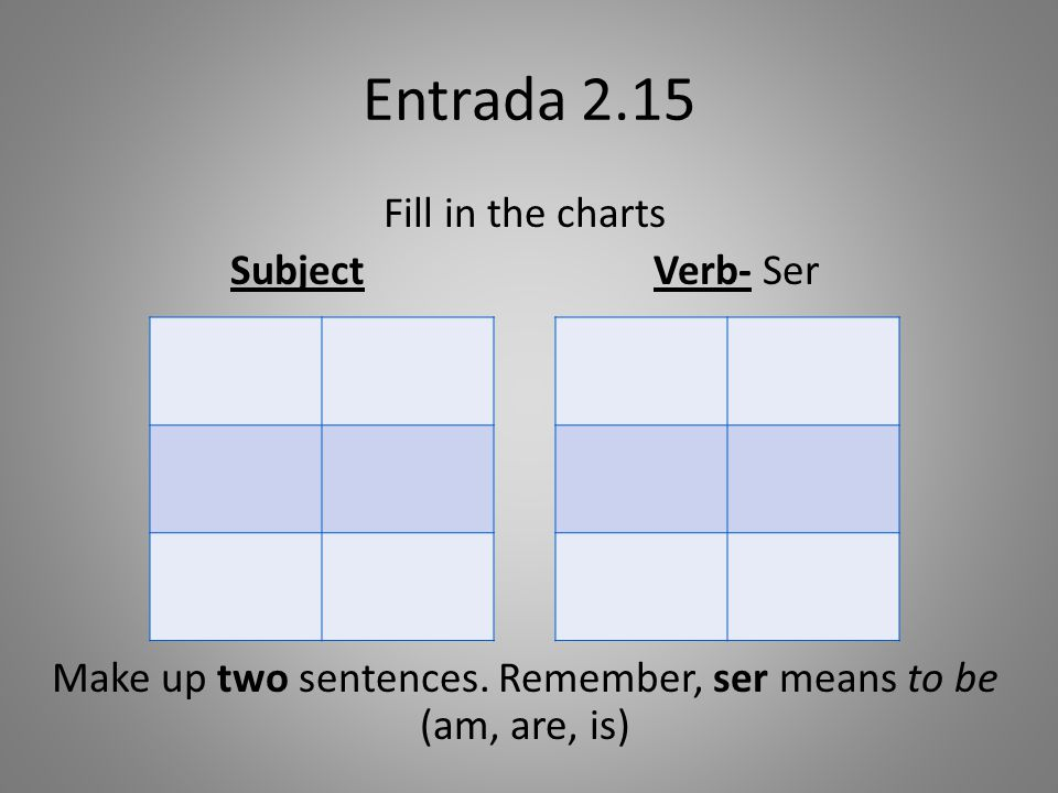 Entrada 2.15 Fill in the charts Subject Verb- Ser Make up two sentences.