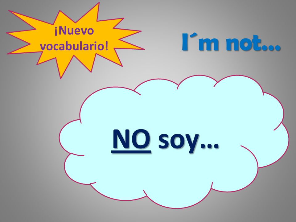 ¡Nuevo vocabulario! I´m not… NO soy…
