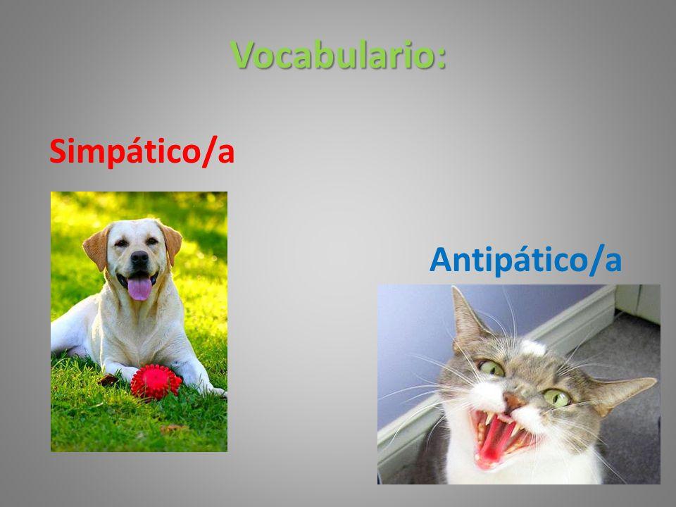 Vocabulario: Simpático/a Antipático/a