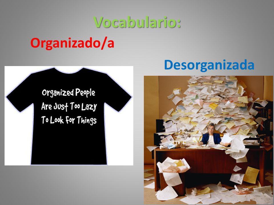 Vocabulario: Organizado/a Desorganizada