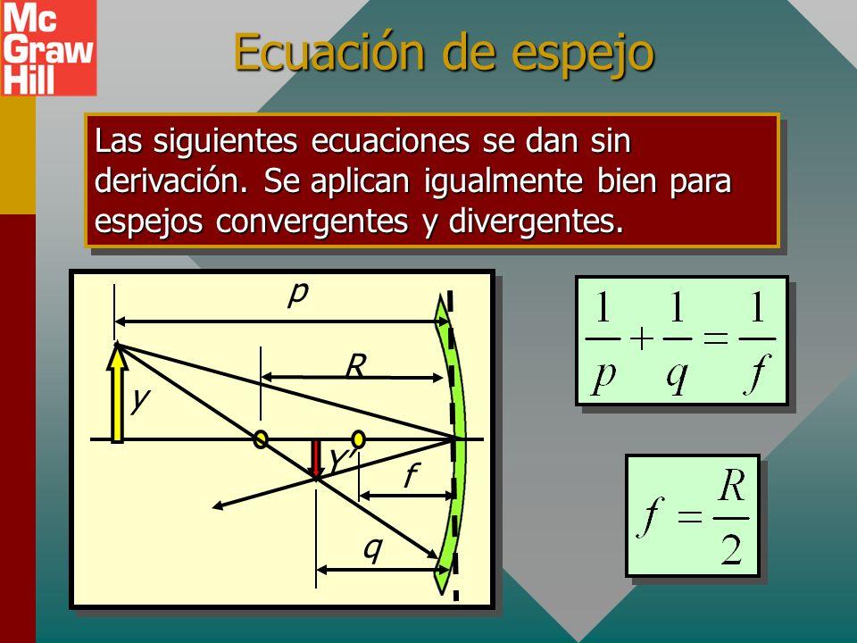 Ecuación de espejo Las siguientes ecuaciones se dan sin derivación. Se aplican igualmente bien para espejos convergentes y divergentes.