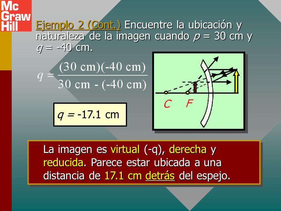 Ejemplo 2 (Cont.) Encuentre la ubicación y naturaleza de la imagen cuando p = 30 cm y q = -40 cm.