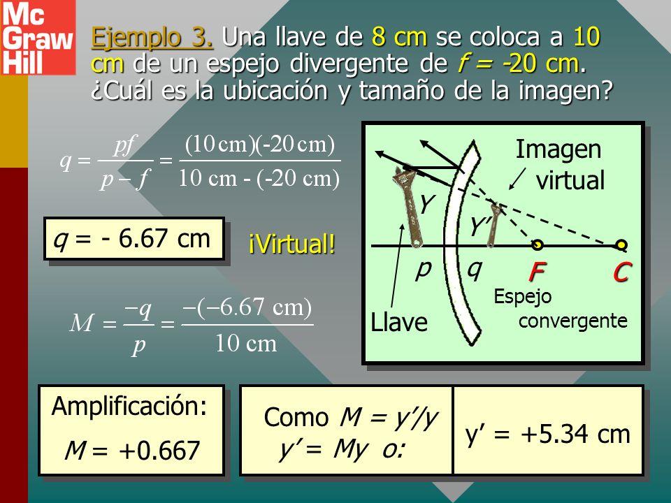 Ejemplo 3. Una llave de 8 cm se coloca a 10 cm de un espejo divergente de f = -20 cm. ¿Cuál es la ubicación y tamaño de la imagen
