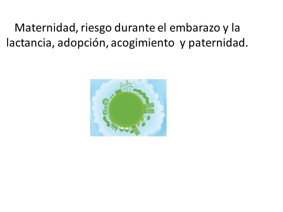 Maternidad, riesgo durante el embarazo y la lactancia, adopción, acogimiento y paternidad.