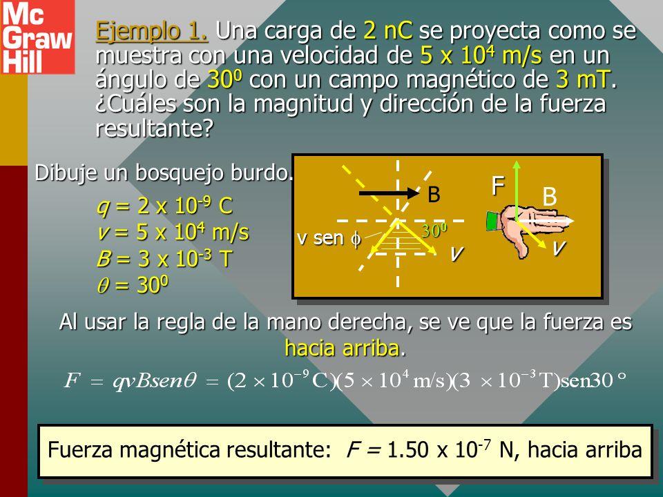 Fuerza magnética resultante: F = 1.50 x 10-7 N, hacia arriba