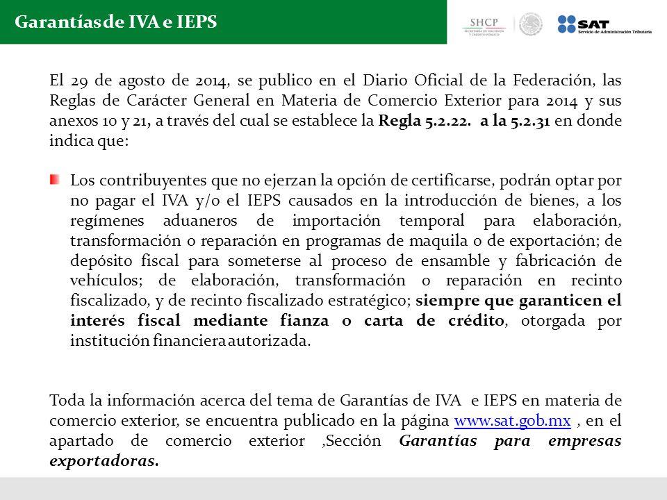 Garantías de IVA e IEPS