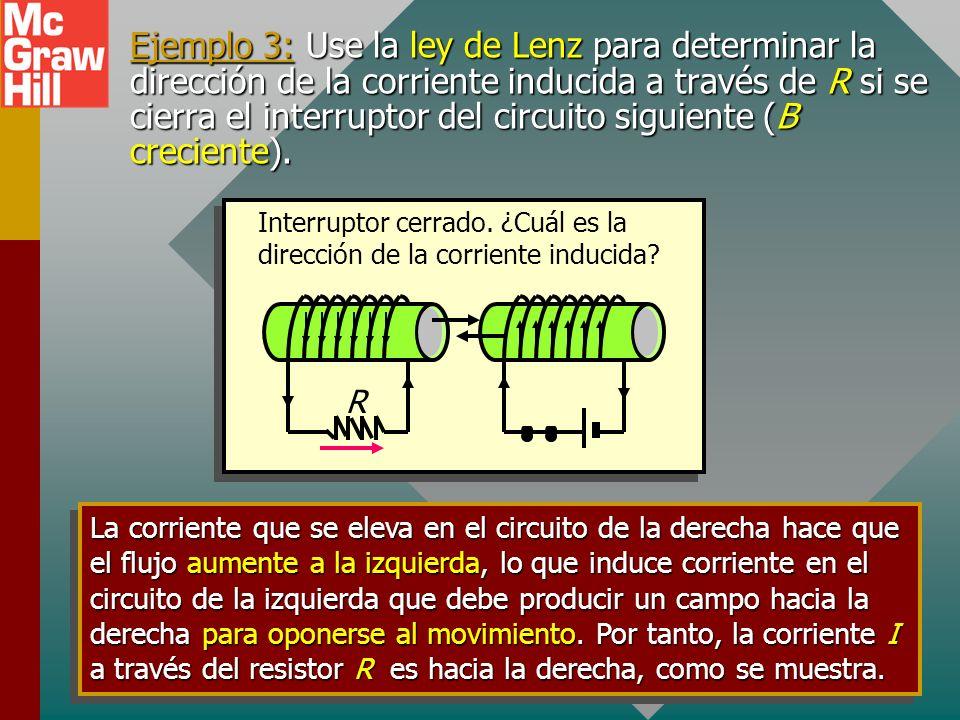 Ejemplo 3: Use la ley de Lenz para determinar la dirección de la corriente inducida a través de R si se cierra el interruptor del circuito siguiente (B creciente).