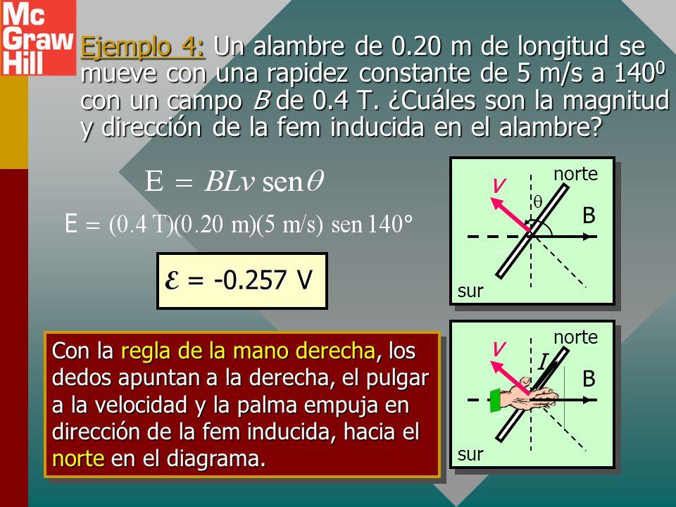Ejemplo 4: Un alambre de 0.20 m de longitud se mueve con una rapidez constante de 5 m/s a 1400 con un campo B de 0.4 T. ¿Cuáles son la magnitud y dirección de la fem inducida en el alambre