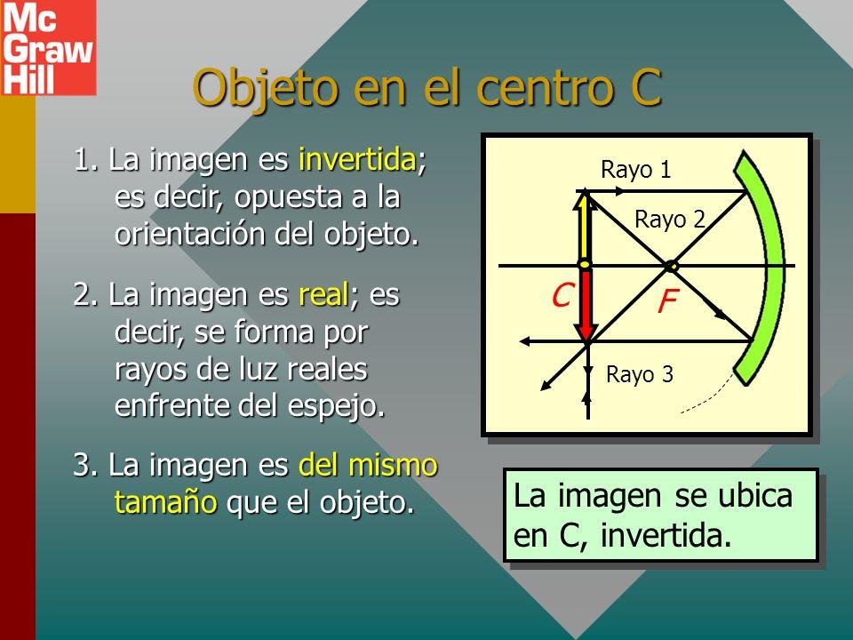 Objeto en el centro C C F La imagen se ubica en C, invertida.